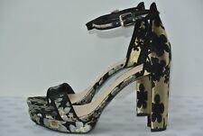 e79e476aa64 NEW Nine West Dempsey Womens 7 M Black   Gold Floral Ankle Strap Platform  Heels