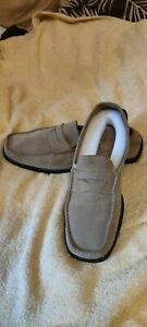 9 (43) BEIGE SUEDE SLIP-ON SHOES DRIVING FASHION GENUINE LEATHER LOAFERS
