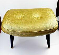 Mid-Century embossed Vinyl stool ottoman hassock Vanity oval Belvedere Proc. Usa