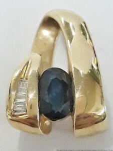 3.1g 14K Yellow Gold 1ct Natural Sapphire 0.10ctw Diamond Ladies Slide Pendant