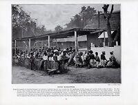 1897 Vittoriano Stampa ~Africa~ Feticcio Worship Benin Tribe Ju-Ju Ginocchio Giù