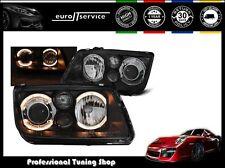 NEW HEADLIGHTS SET HEAD LAMP LPVWC0 VW BORA 1998-2005 ANGEL EYES BLACK RHD LHD