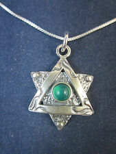 """Artisan Sterling Silver Star of David Green Agate Pendant Necklace 18"""" 925 Chain"""