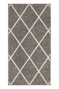 Diamond Pattern Grey Outdoor Rug Large Polypropylene Rug Designer Patio Rug