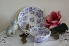 8 tasses + 6 soucoupes fine porcelaine Sarreguemines décor japonisant épines