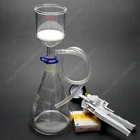 1000ml,Lab Suction Apparatus,200ml Funnel,1L Flask,W/Vacuum Pump & Filter Paper