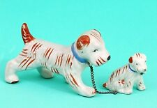 Set of Two Vintage Terrier Dog Figurines, Made in Japan, RARE Orange, White
