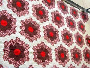 Vtg 40's 50's Flower Garden Quilt Hand stitched Brown Red White