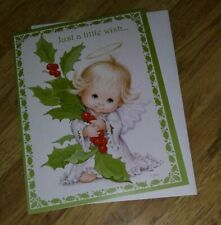 Ruth J Morehead Angel with Holly Just a Little Wish Christmas Card FREEShip$20
