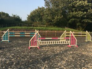SET OF 3 HORSE SHOW JUMPS WITH POLES & FILLER PINK YELLOW BLUE