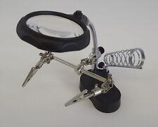 "New (4x) Illuminated Helping Hand Magnifier Jeweler Hobby Tool 2.5"" Lens"
