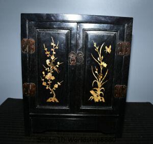 """22.8"""" Old Ebony Black Wood Inlay Shell Dynasty Flower Birds cupboard cabinet"""