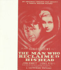 THE MAN WHO RECLAIMED HIS HEAD(1934)CLAUDE RAINS ORIGINAL PRESSBOOK HERALD.