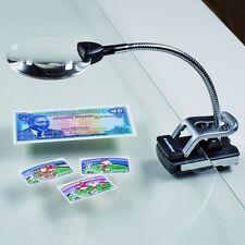 Tischlupe mit Flexarm , 2,5- & 5-fache Vergrößerung, 2 LED's NEU! Art. 311 360