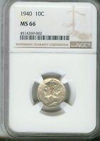 1940 10C Mercury Dime NGC MS66  4514269-002