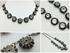 VTG France Countess Cissy Zoltowska CIS Crystal Flower Necklace Sterling Chain