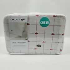 LACOSTE Queen Slice Sheet Set Baroque Rose 100% Cotton Percale