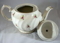 Windsor English China Teapot - Swirl Ivory Color with Red Roses & Gold Trim