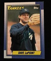 DAVE LAPOINT 1990 TOPPS Autograph Signed AUTO Baseball Card 186 YANKEES