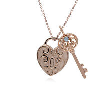 Oro Rosa Plata de Ley Espiral Corazón & Aguamarina Grande Llave Dije sobre 45cm