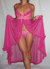 VINTAGE 1970s 70s FROTHY PINK ruffle NEGLIGEE night DRESS Pegnoir SHOWGIRL S/M