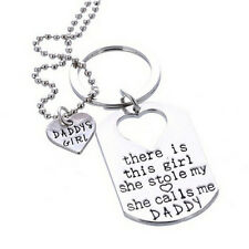 Letter Heart Keychain Necklace Pendant Daddy Daughter Father Girls Jewelry PopFH