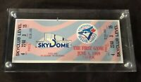 Toronto Blue Jays First Game Played at Sky Dome June 5, 1989 Ticket in Hard Case
