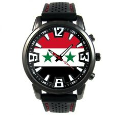 Syria Syrian Arab Republic Flag Men's Style Jelly Silicone Band Wristwatch S213F