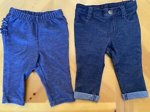 Girl Baby Infant Set Of 2 Old Navy Denim Slip On Jeans - Size 3-6 Months