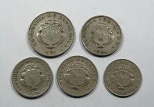 Costa Rica 5 Coins 1935-48 Colon 1937, 50 centimos 1935 37, 48, 25 Centimos 1948