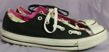 CONVERSE ALL STAR Unisex Black/Floral Tongues Lowtop Sneakers Size M 8 W 10