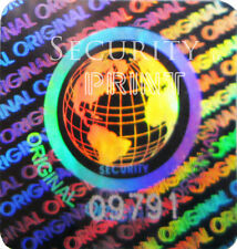 392 WORLD ORIGINAL Hologram Security stickers labels+Serial No's 20mm S20-1SSN