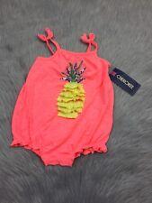 NWT Target Cherokee Neon Pink Yellow Pinapple Ruffle Romper Baby Sz 12m