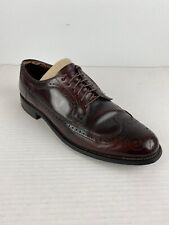Vintage Hanover Mens Shoes 10 D Burgundy Brown Leather Brogue Oxford Wingtip USA