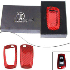 Carbon Fiber Red Car Remote Key Fob Case Shell Fit BMW 1 3 4 5 6 7 X1 X3 Series