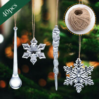 40PCS Snowflake Icicle Ornament Crystal Christmas Tree Transparent Decoration a#