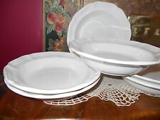 "Set 6 Mikasa FRENCH COUNTRYSIDE White 8.5"" Rimmed Soup Cereal Ice Cream Bowls"