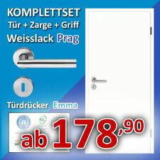 Innentür PRAG - Zimmertür + Zarge + Türgriff - Komplettset Weißlack Weisslack