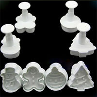 DIY Christmas Snowman Fondant Cake Mold Biscuit Cookie Plunger Cutters Decor FO