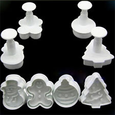 DIY Christmas Snowman Fondant Cake Mold Biscuit Cookie Plunger Cutters Decor ZT