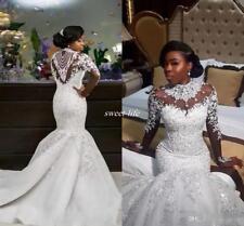 New Plus Size white/ivory Mermaid Bridal Gown Wedding Dress Custom Size 4-16+