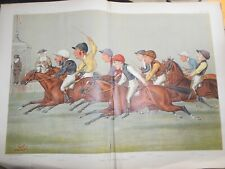 Original 1888 Victorian Vanity Fair Double Horse Racing Print; The Winning Post
