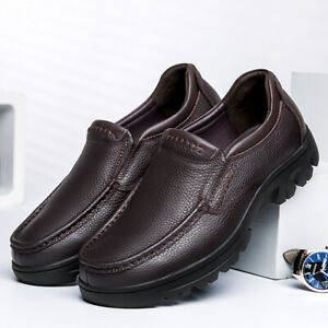 US5-15 Mens Round toe Leather Slip on Loafers Low top Casual Comfort Pumps Shoes