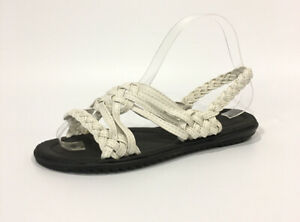 BRAIDED SANDALS -WHITE SYNTHETIC LEATHER -HANDMADE BY MEXICAN INMATES -US SIZE 7