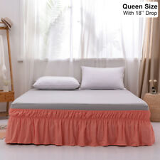 Mohap Solid Bed Skirt 18'' Drop Dust Ruffle Fit Wrap Around Bed Queen Size Coral
