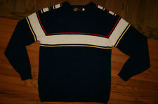 VTG Nordic JERSILD Navy Sweater MENS L NEENAH WISCONSIN Red/White/Yellow Striped