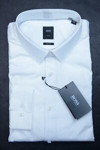 Hugo Boss Tailored $215 Scott Men's Slim Fit White Cotton Dress Shirt 38 15