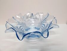 """CAMBRIDGE CAPRICE MOONLIGHT BLUE 12.5"""" FLARED RIM CENTERPIECE BOWL 4 FOOTED BASE"""