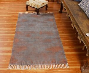 Gray Dhurries Indian Handmade Printed Cotton Floor Area Rug New Abstract Dhurrie