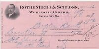 U. S. Rothenberg & Schloss Kansas 1909 W/sale Cigars Paid Invoice-Tear Ref 39377
